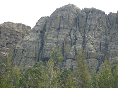 Fluted volcanic cliff east of Wheeler Lake, Sierra Nevada