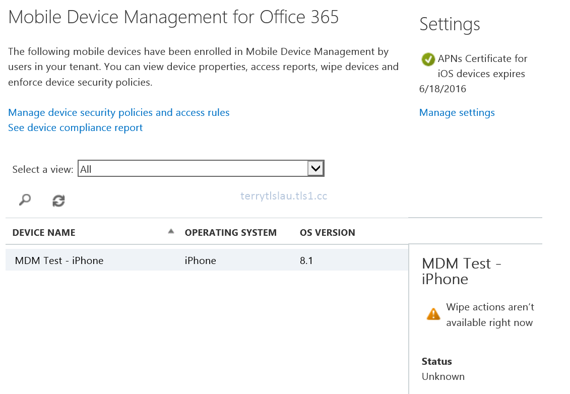 Terry l u 39 s blog mobile device management for office 365 part 3 - Office for mobile devices ...
