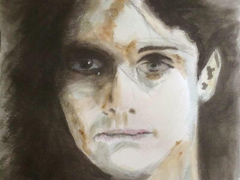rostro femenino con tinta y acuarela