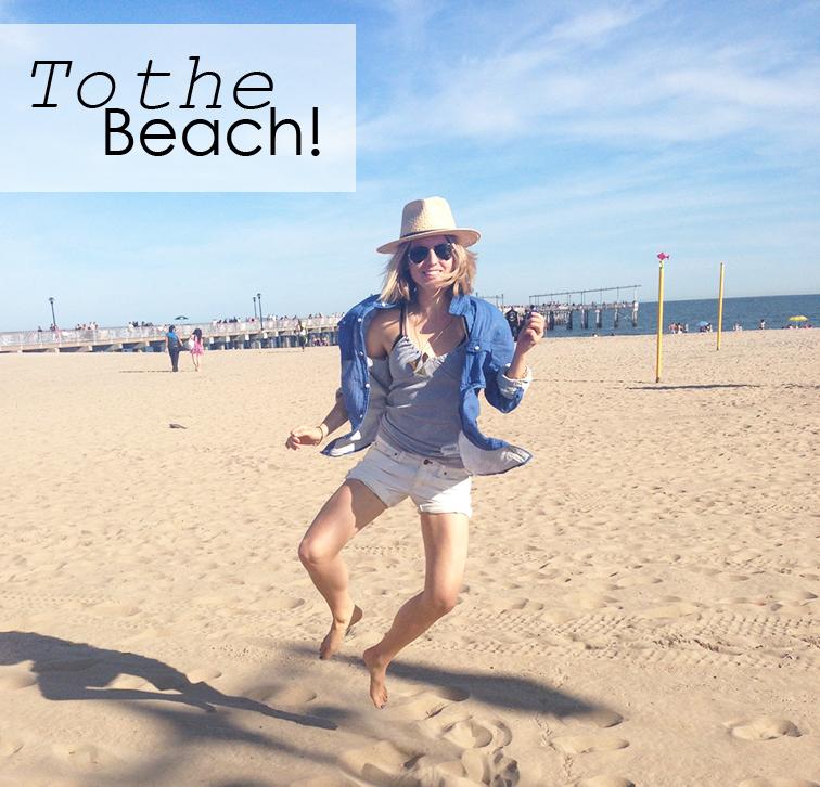 To the Beach, Coney Island Beach, Brooklyn New York, Straw Hat, Blue and white, H&M, Gap, Hip hip hurray jump