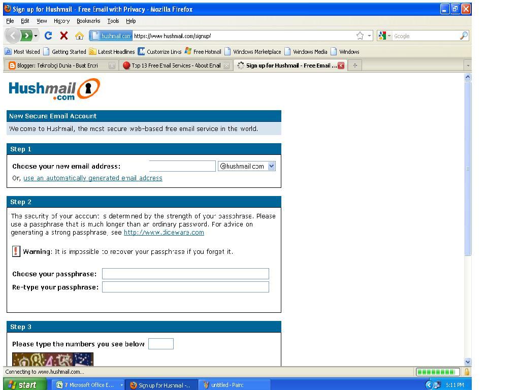 masuk link https www hushmail com signup isi identitas