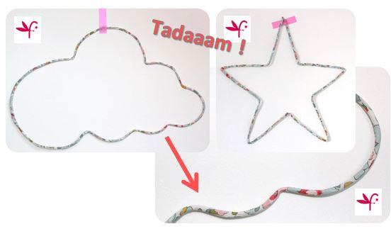 TUTO DIY GRATUIT suspension déco étoile et nuage en fil de fer et liberty