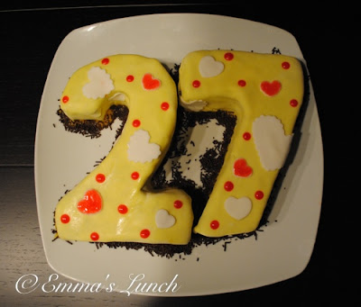 Number two shaped cake