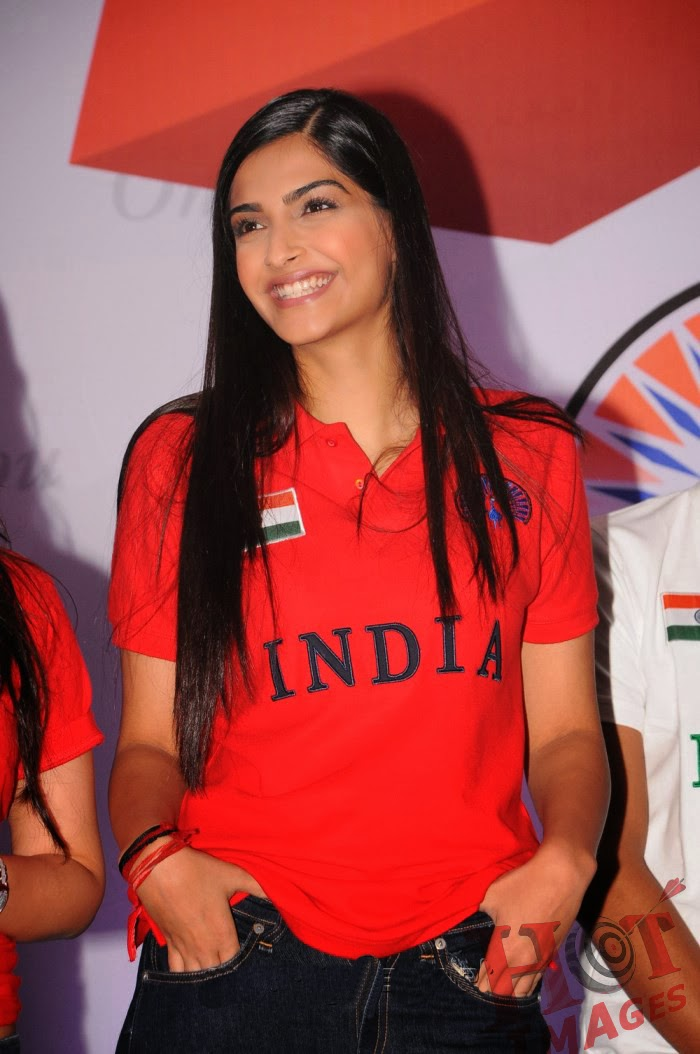 Sonam Kapoor Hot Images in red t shirt