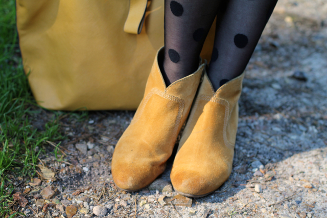 Clarks 'Cognac' boots in mustard