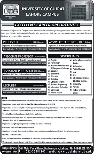 Lecturers Jobs & Other Faculty Jobs in University of Gujrat, Lahore Campus