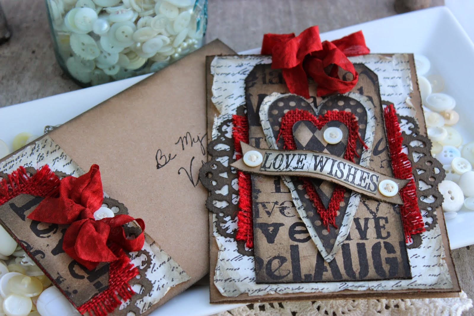 """Love Wishes"" Valentines Card & Envelope"