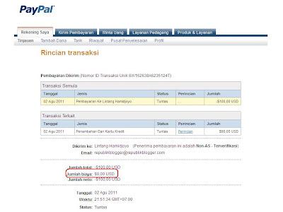 Rincian Transaksi Paypal