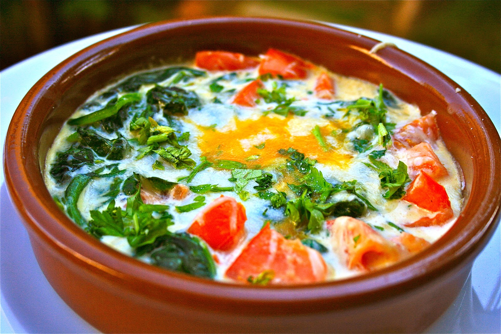Johnny's Kitchen: Baked Eggs with Spinach Tomato and Parmesan Cream