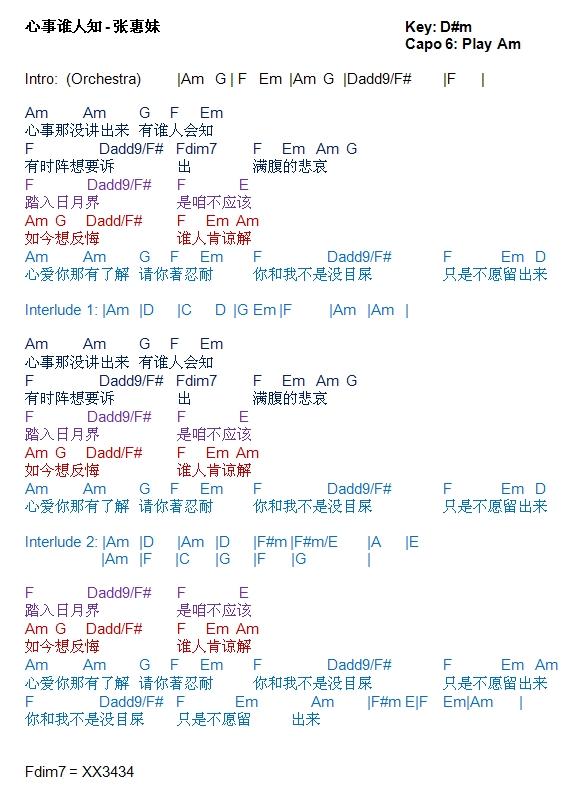 TalkingChord.com: 张惠妹- 心事谁人知(吉他谱Chords)