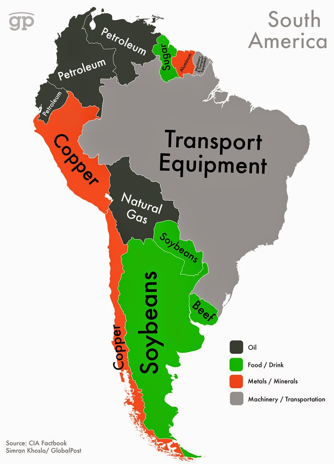 Every Country's Highest-Valued Export In Map south america