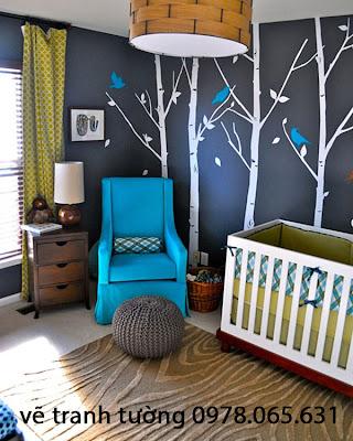 vẽ tranh tường phòng khách,vẽ tranh tường phòng ngủ