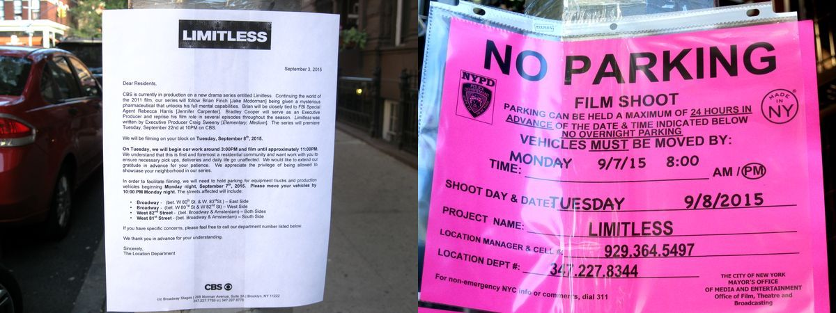 CBS Series Limitless Shooting Schedule Notice NYC UWS photo by sookietex