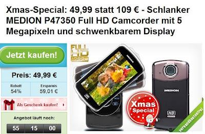 Produkt-Deal bei Groupon: Medion Life P47350-HD-Camcorder für 49,99 Euro