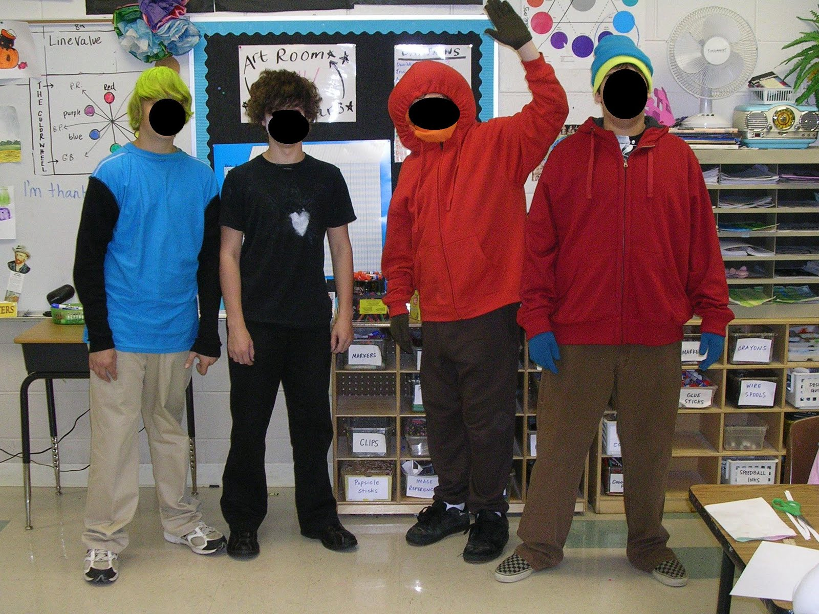 artful artsy amy students dressed up as south park denizens