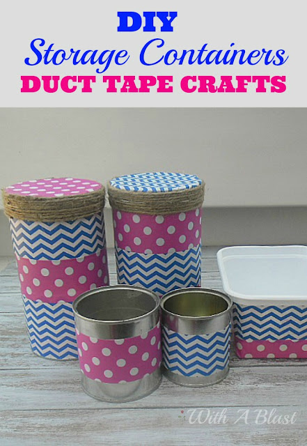 Storage Containers (Duct Tape Crafts) ~ Easily recycle empty cans and tubs by using Duct Tape to decorate #DuctTape #Crafts #StorageContainers #Storage #DIY #Organizing
