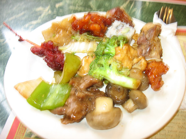 Plate of asian food at Hudson Buffet in Fishkill, NY