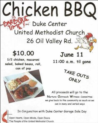 6-11 Chicken BBQ Duke Center