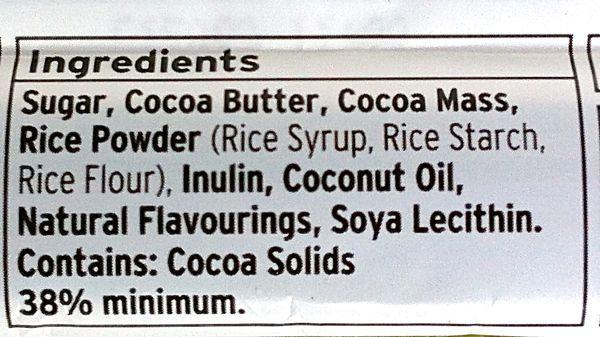 Sainsbury's Free From Choc Bar ingredients (vegan)