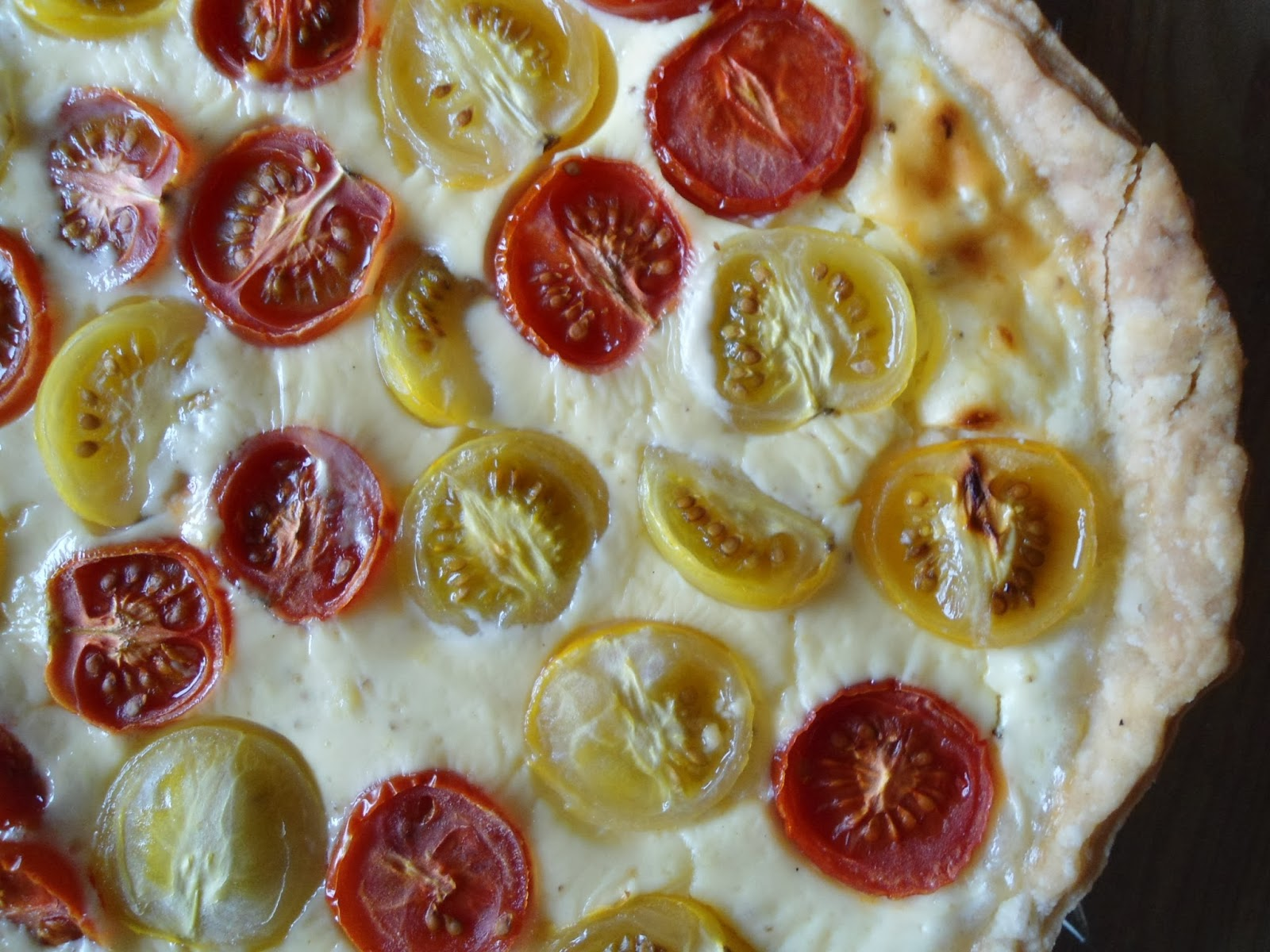 diet tomato and lancashire cheese quiche