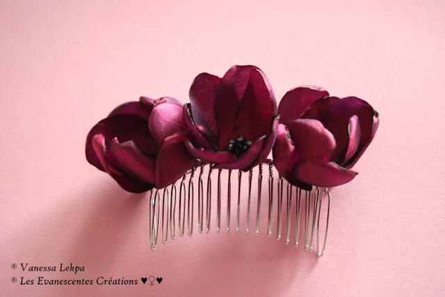 peigne de mariée fleur de taffetas bordeaux prune réalisé a la main savoir faire tradtionnel