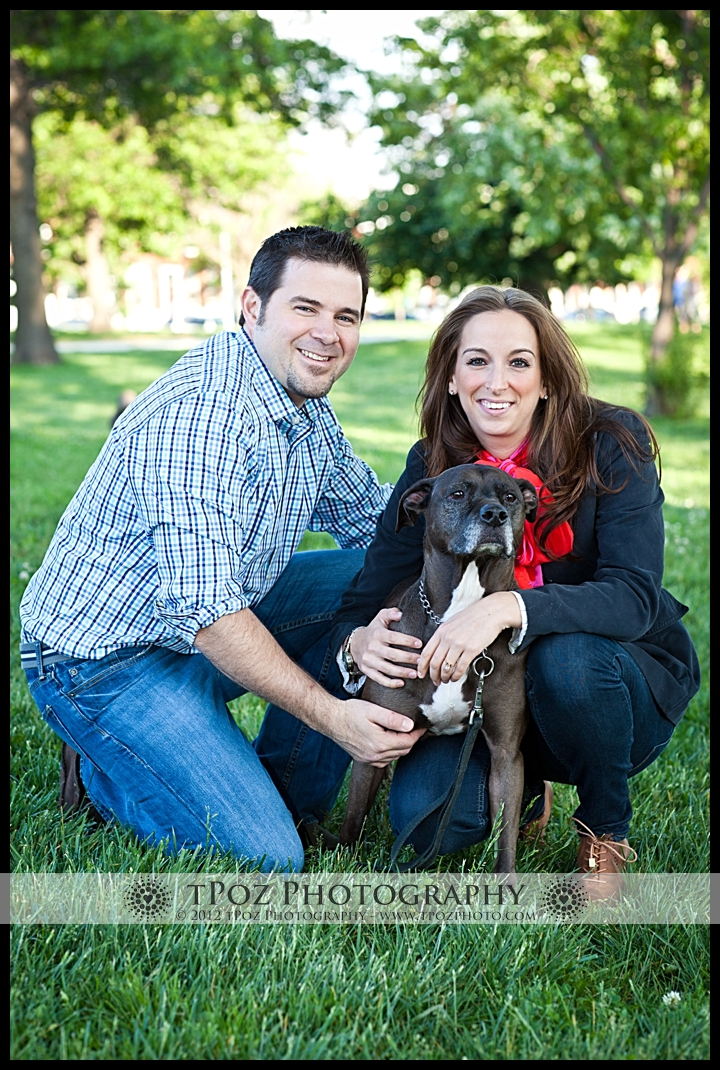 Federal Hill - Riverside Park Engagement Session pit bull dogs