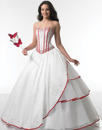 Weddingdresswhiterec 6g wedding dresses with red flowers junglespirit Images