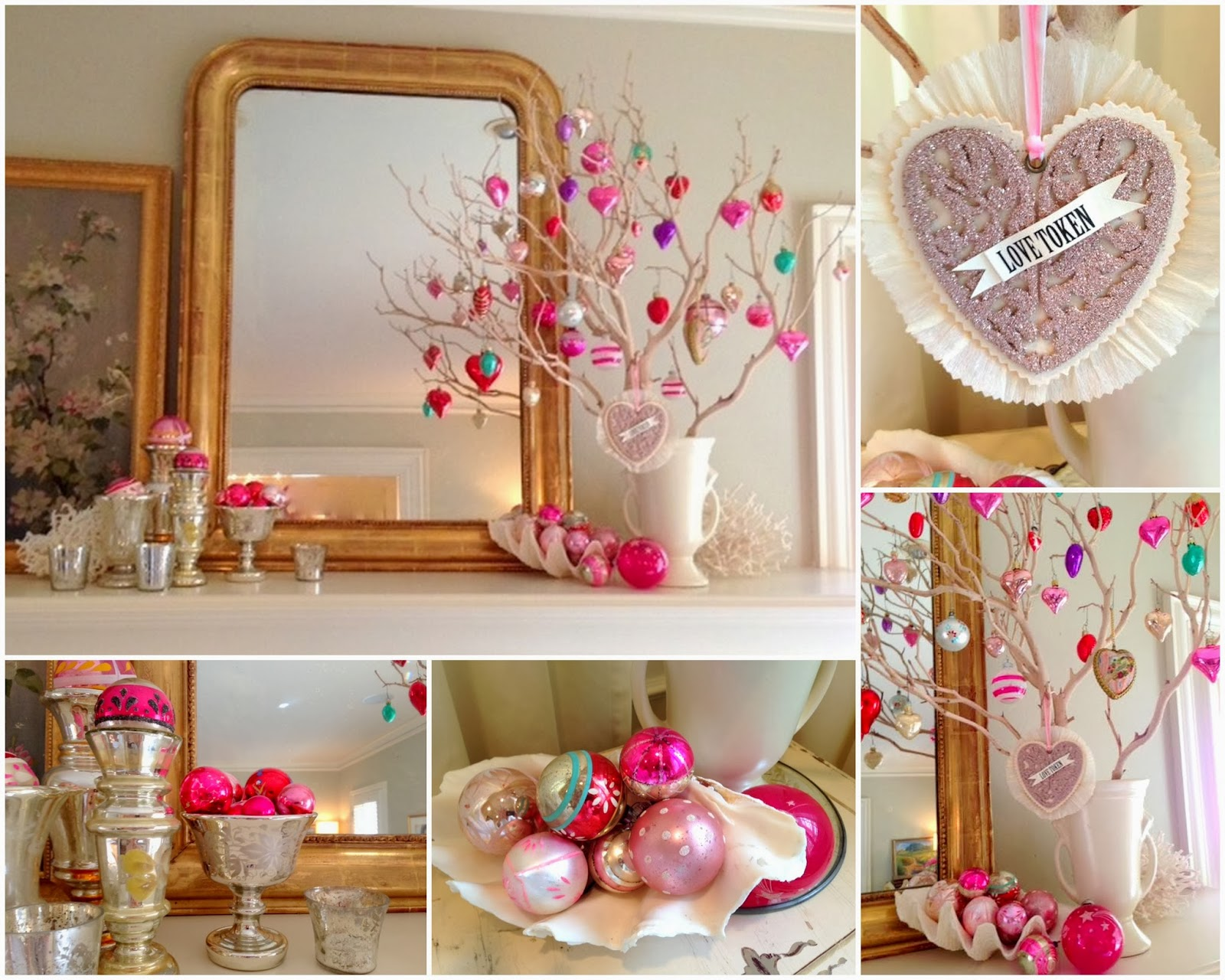 Valentine's Day Decor; Vintage Glass Ornaments