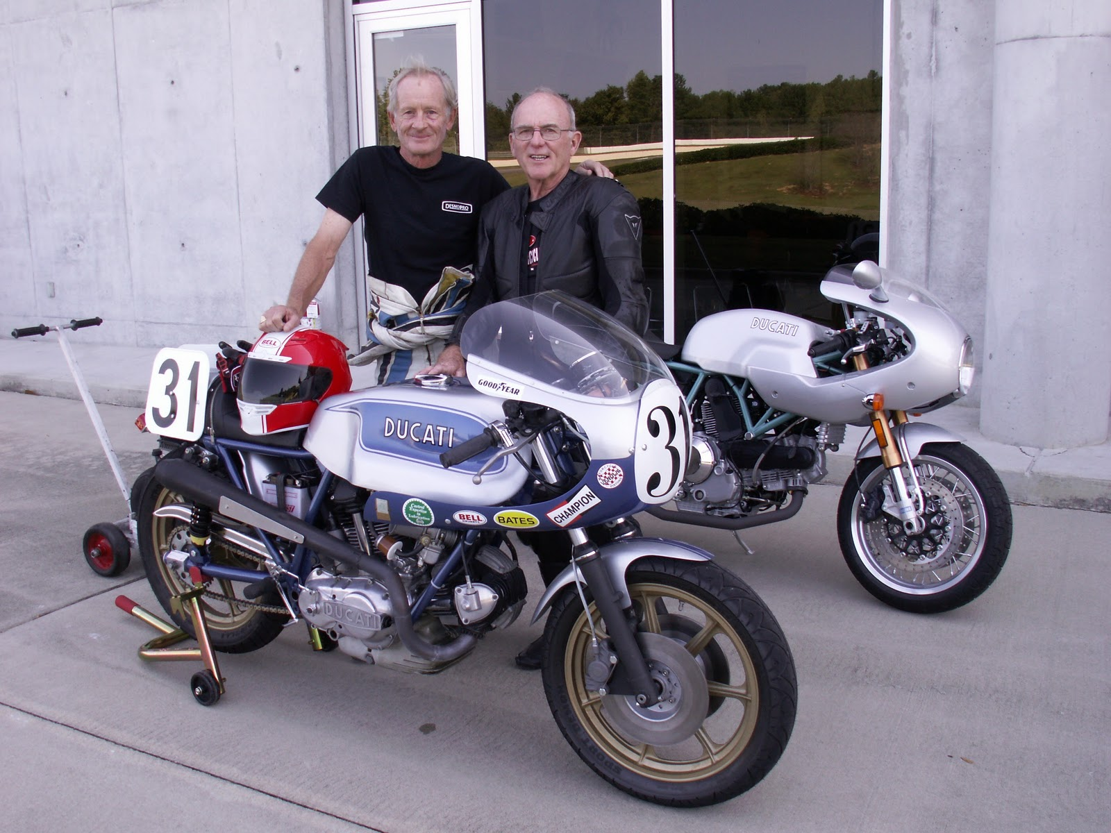 Legends Of Ducati V Twin Racing History Cook Neilson And Paul Smart Enjoy A Brief Reunion Before Getting Ready To Get In Some Laps At Barber Motorsports