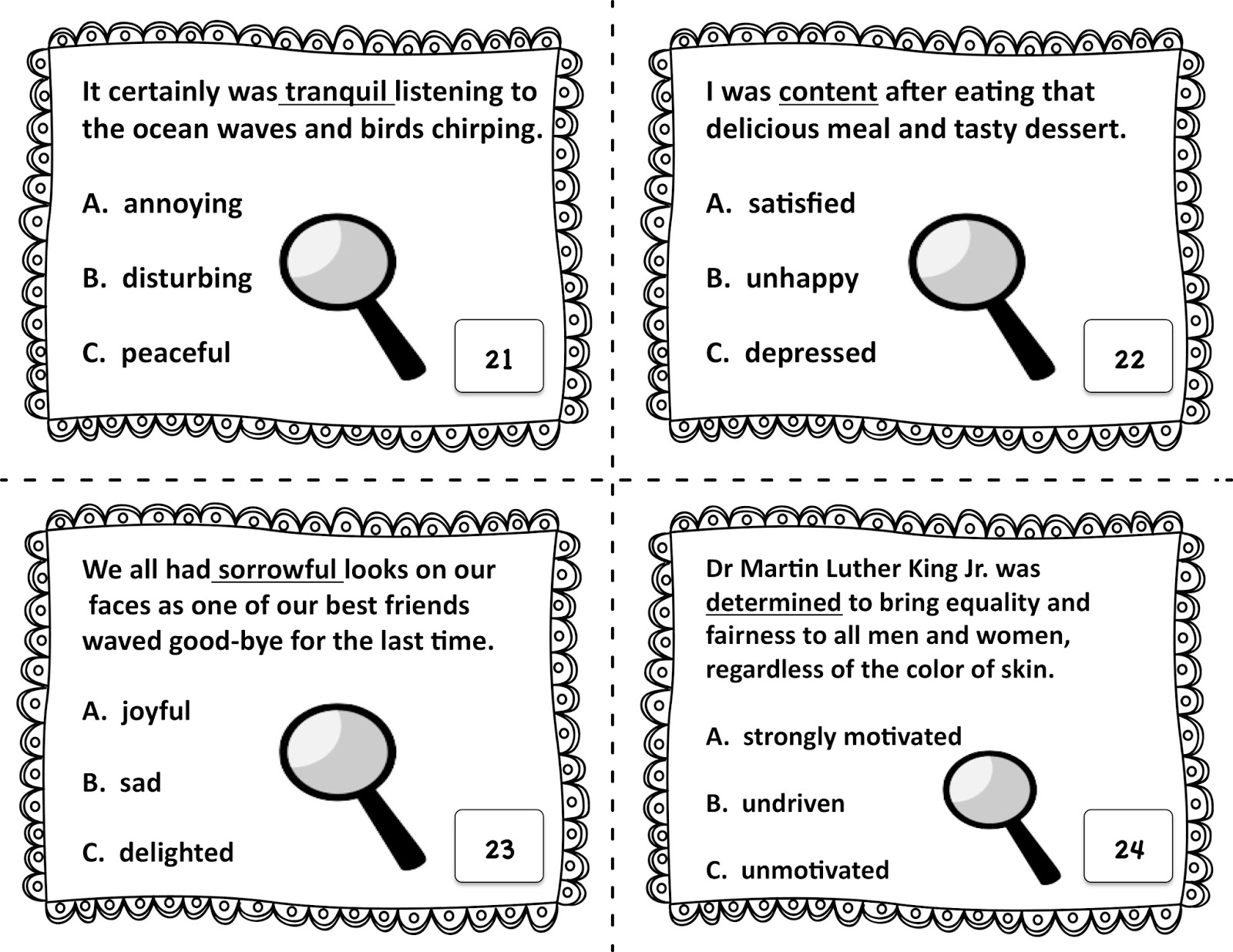 Worksheet Context Clues positively passionate about teaching context clues task cards angie