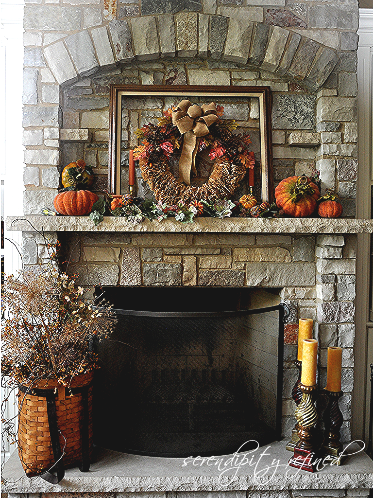 Serendipity Refined Blog Fall Decorating Mantels and