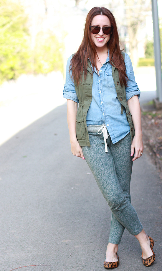 Here & Now : chambray + utility vest + knit pants + leopard flats