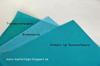 Stampin Up Baumwollpapier Vergleich mit Transparentpapier