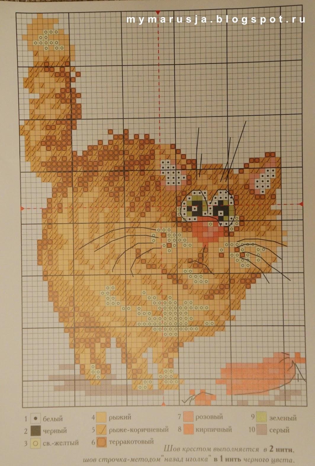 кошка крестиком вышить схема
