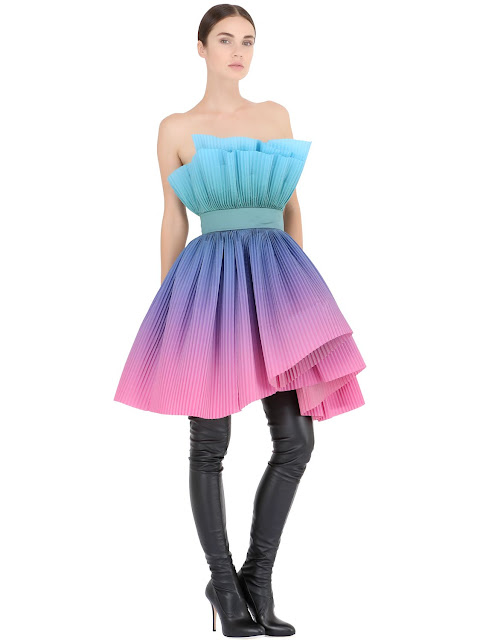 CAPUCCI  OVERLAPPING PLISSÉ ORGANZA MINI DRESS