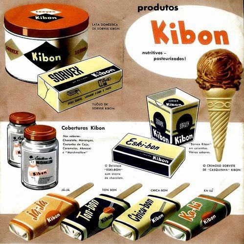 Catálogo publicitários da linha de Sorvetes Kibon em 1955.