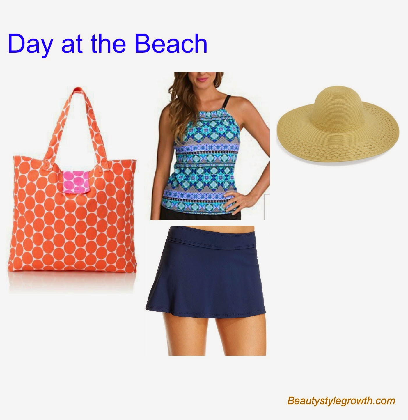 Tankini and swim skirt for curvy, apple shapped