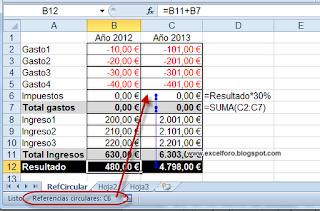 Localizar Referencias circulares en Excel.
