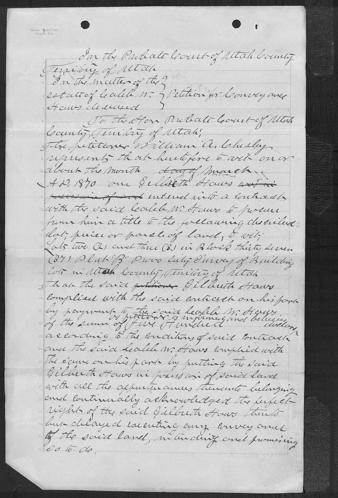 Genealogys star december 2014 this is a deed from the estate of caleb w haws to william a chesley based on william a chesleys petitions for the execution of the deed dailygadgetfo Gallery