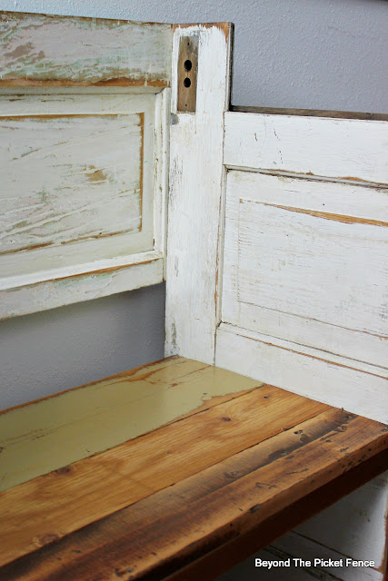 old door bench, chippy paint, DIY, Minwax, http://bec4-beyondthepicketfence.blogspot.com/2016/02/a-door-able-bench.html