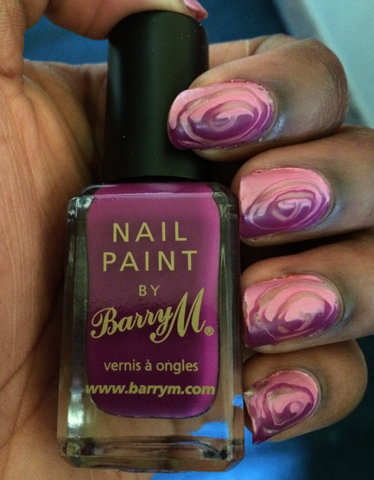pink purple marbled nails