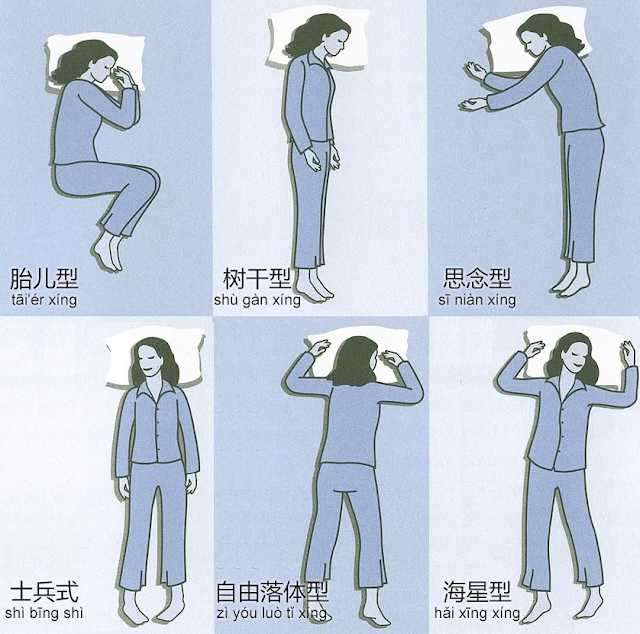 various sleep positions