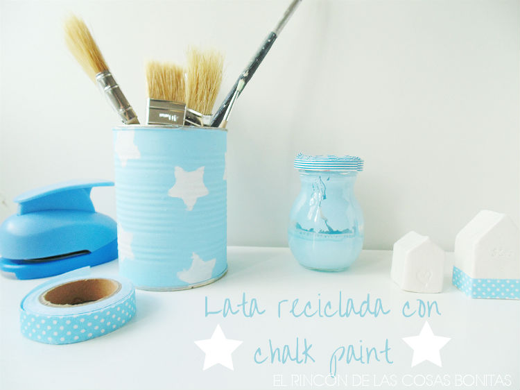 lata reciclada con chalk paint