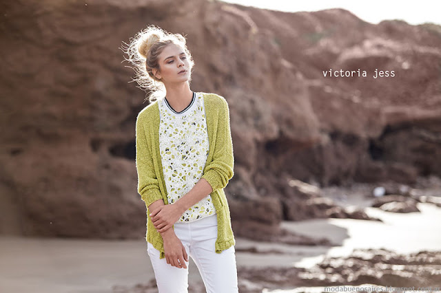Moda primavera verano 2016 sacos tejidos Victoria Jess.