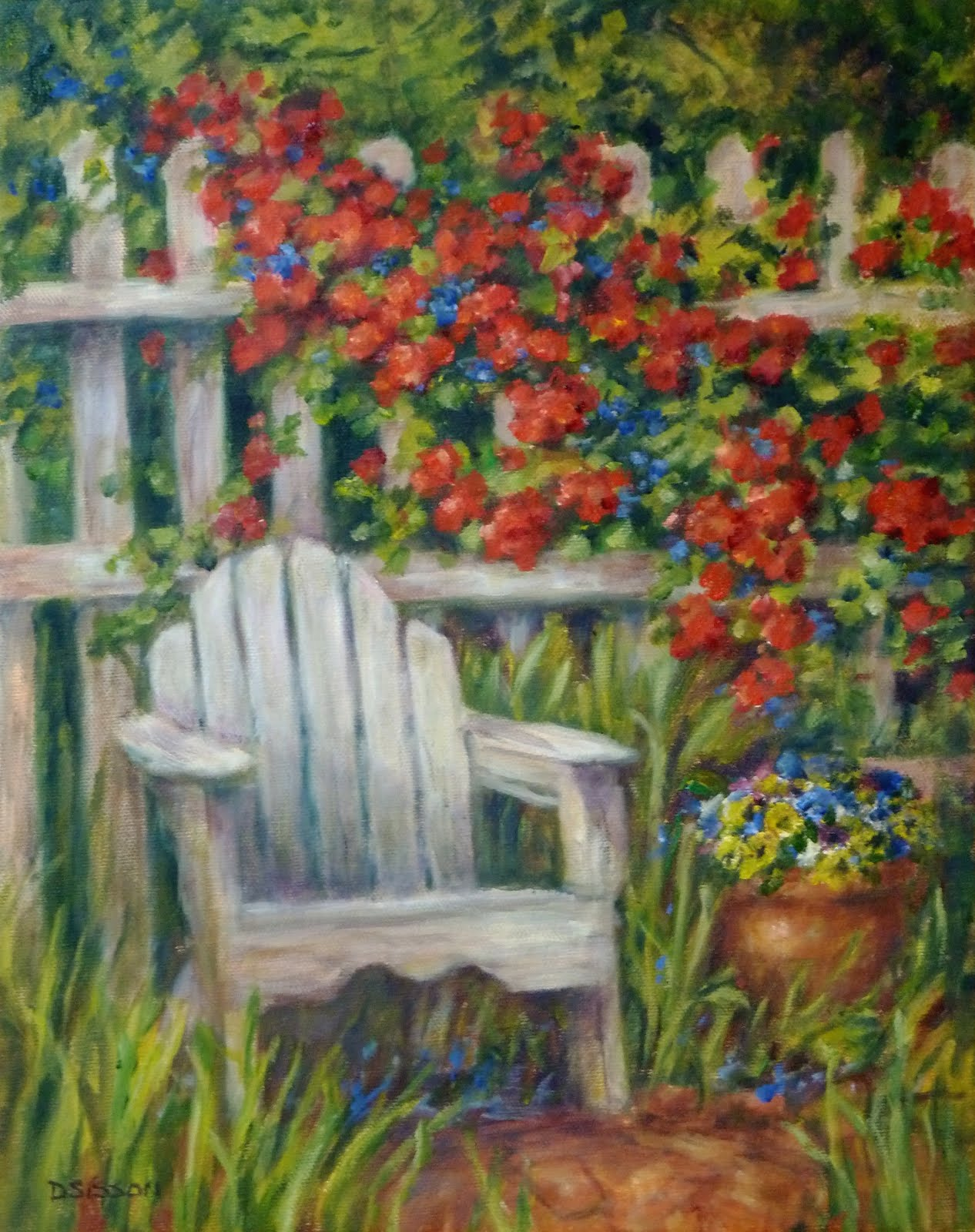 Daily painting projects garden seat oil painting for Garden painting images