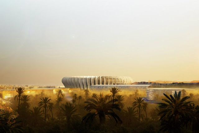 Rendering of new Grande Stade de Casablanca by SCAU, Casablanca, Morocco with the brown landscape and palms