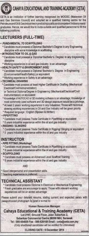 Job vacancies at cahaya educational and training academy for Ponteggio ceta dwg