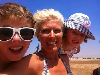 My girls and me on the beach in Gruissan Plage