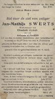 Bidprentje Leopoldist Jan-Mathijs Swerts (1820-1923)