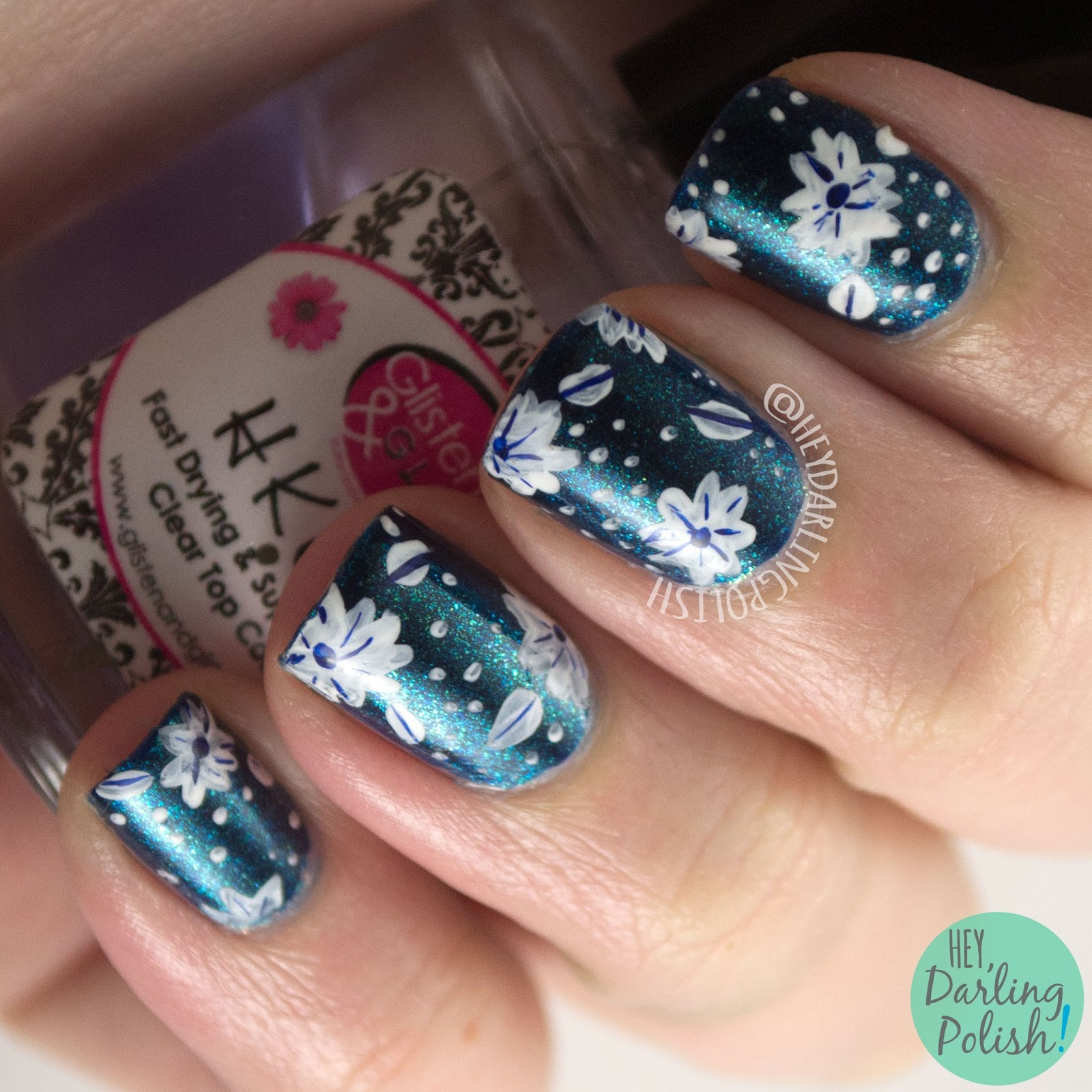 nails, nail art, nail polish, floral, flowers, blue, dark, white, hey darling polish, pattern, zoya